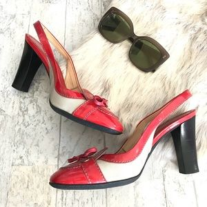 TOD'S Patent Red Sling Back Pump